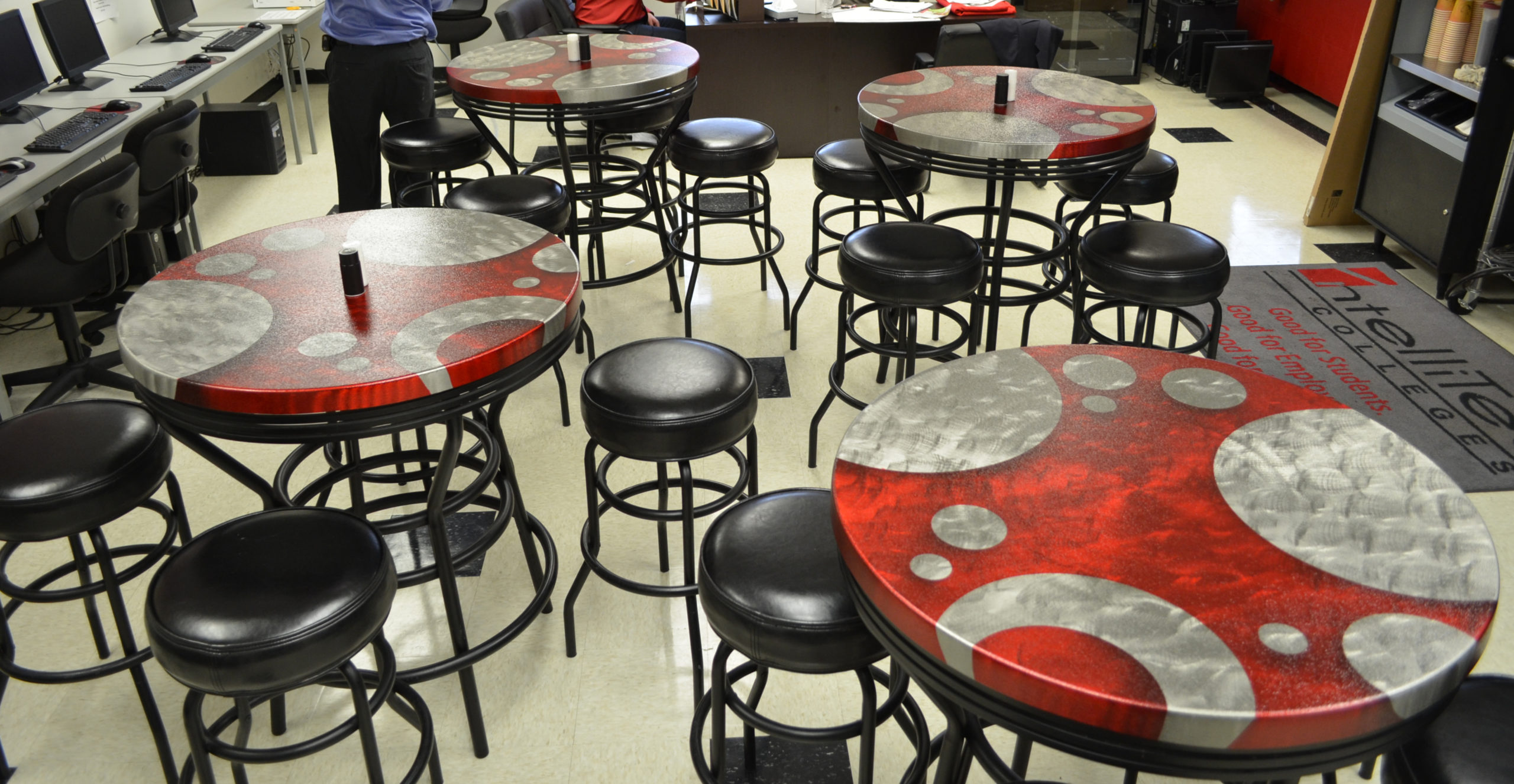 Satellite College_Round Table Tops_Circles Red RDM_1